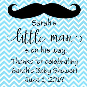 Little Man Mustache Baby Shower Favor Tags
