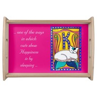 Happiness White Cat Quote with Monogram K Serving Tray