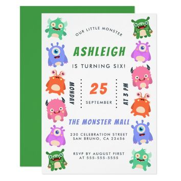 Cute Little Monster Party | Boys Birthday Party Card
