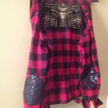 Flannel Shirt Lace Embellished Shirt  - CUSTOM Order - Boho Sparkle Elbow Patch-  Plaid Flannel Shirt  Small-XL Plus Size
