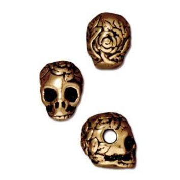 94-5715-26 - TierraCast Large Hole Pewter Skull Bead, Antique Gold | Pkg 2