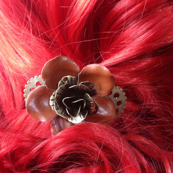Steampunk Hair Clip, Steampunk Flower Hair Clip, Vintage Hair Clip, Rockabilly Hair Flower, Steampunk Hair Accessories, Psychobilly Flower
