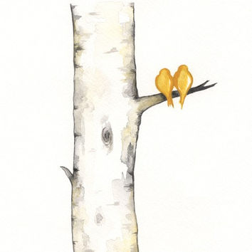 Yellow Birch Tree Love No. 3 / Love Birds / Romance / watercolor print / grey / black and white and yellow / Archival