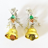 Christmas Bell Earrings Silver Tone Holiday Swag Clip Ons Lightweight Festive Winter Clips Yellow Gold Pine Cone Bells