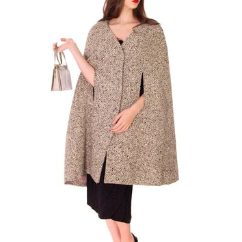 1950s Vintage Sybil Connolly Irish Tweed Salt & Pepper Wool  Cape Coat S M