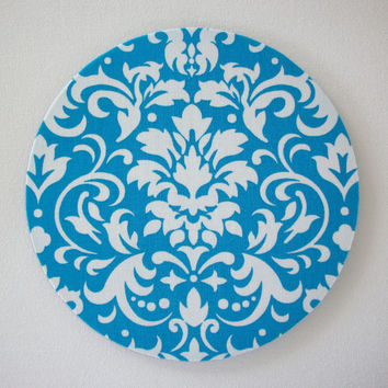 mousepad / Mouse Pad / Mat round or rectangle - Turquoise and White Damask