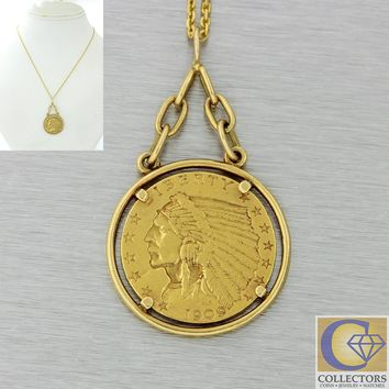 1910s Antique Art Deco Estate 224k Indian Head Gold Coin Pendant Chain Necklace