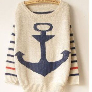 Military style anchor mohair sweet stripes bat shirt sweater BB01