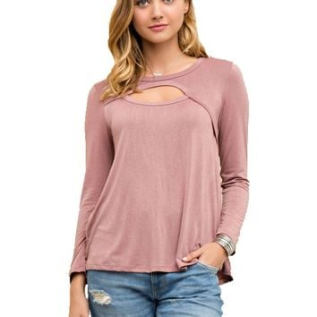 Jersey Scoop Neck Top, Mauve