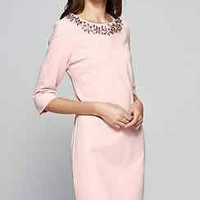 Luxury Dress 3/4 Sleeves Cocktail Evening Pink Fall Beaded Plus Size