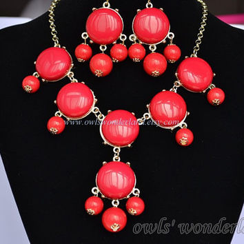 Red bubble necklace and earrings gift set,J Crew Bubble Necklace Inspired ,Red Bubble Statement Bib Necklace