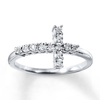 Cross Ring Diamond Accents Sterling Silver