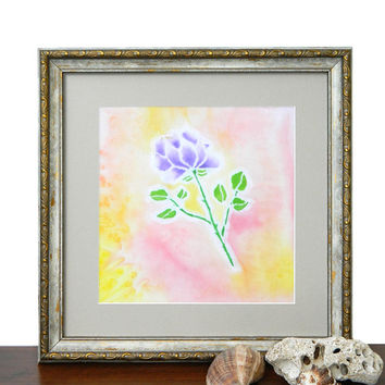 Rose Silk painting-Batik painting-Lilac rose-Batik-Wall painting-Drawing on Fabric-Bamboo Frame-Flower Floral Painting-Wall Decor-Textile