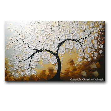 ORIGINAL Art Abstract Painting Blossoming Cherry Tree Textured White Flowers Wall Art Blue Brown XL 36x60""