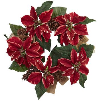 Silk Flowers -22 Inch Poinsettia Pine Cone And Burlap Wreath Artificial Plant