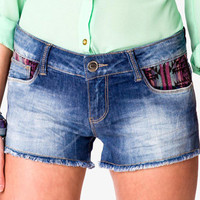 Southwestern Frayed Denim Shorts