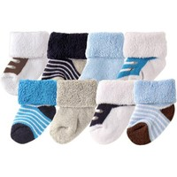Luvable Friends Newborn Baby Boys Socks 8-Pack - Walmart.com