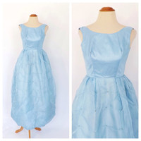 Vintage 1960s Prom Gown Light Blue Princess Cinderella Ballgown 50s Dress Princess Gown Size Small XS Bubble Skirt 60s Bridesmaid Dress