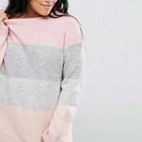 ASOS CURVE Jumper in Block Stripe at asos.com