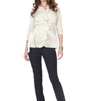Seraphine Elvie Ruffle Front Maternity Blouse