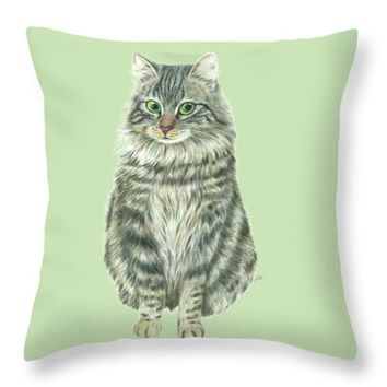 "A Furry Cat Throw Pillow 14"" x 14"""