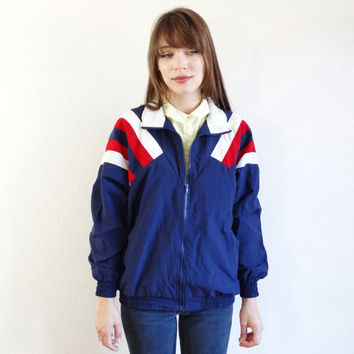 80s nylon windbreaker - vintage wind breaker jacket - athletic active wear coat - red white and blue - men women unisex small xs