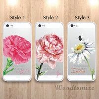 Floral Flower Personalized transparent phone case for iPhone 6, iPhone 4s/5s/5c, Samsung s4 s5 Note 3, daisy peony custom name cover (L52)