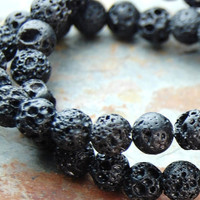 Black Lava Rock Round 8mm Natural Stone Beads -15.5 inch