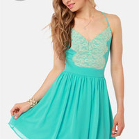 LULUS Exclusive Just Dance Backless Aqua Lace Dress