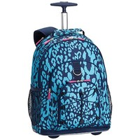 Gear-Up Bright Blue Cheetah Rolling Backpack