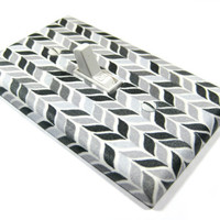 Black White and Gray Herringbone Chevron Light Switch Cover Modern Home Decor Wall Art Decoration Outlet Rocker Dimmer 1127