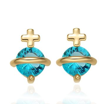 Tiny Stud Style Magic Circle Holy Cross Lucky Charms Gold-Tone Sky Blue Sparkling Crystals Earrings