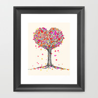 Love in the Fall - Heart Tree Illustration Framed Art Print by micklyn