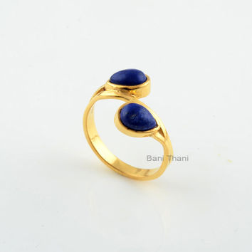 Lapis Gemstone Ring-Pear 5x7 mm-Handmade Jewelry-Designer Ring-Gold Plated Ring-Wedding Gift-Anniversary Gift