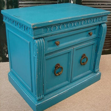 Reclaimed Antique Vintage Chippy Primitive Heavy Distressed Aqua Painted Small Chest Nightstand Table (RT-105) Ships FedEx