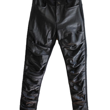 Leather Slim Slouch Jean