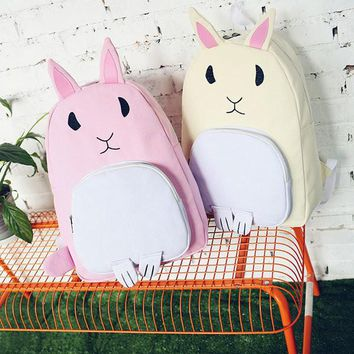 Girls Cute Rabbit Backpack Canvas Shoulder Bag Students Bags