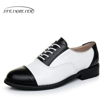 woman genuine leather US 11 designer vintage flats oxford shoes round toe handmade lace up black white oxford shoes for women