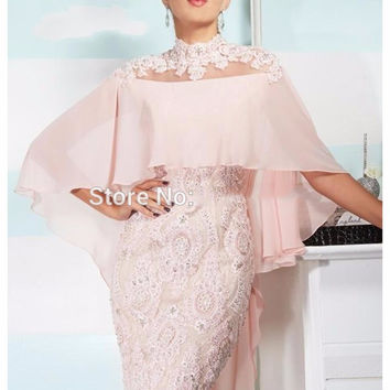fashion pink cocktail dresses with shawl 2017 high neck appliques lace beaded short mother gown for formal prom party