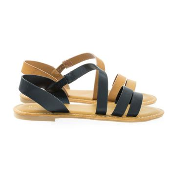 Coastline17 Black By Bamboo, Gladiator Slip On Flat Open Toe Flat Sandal w Elastic Strap