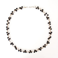 Vintage Black and White Beaded Necklace - Long Necklace with Spring Ring Fastener