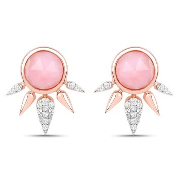 LoveHuang 2.31 Carats Genuine Pink Opal and White Topaz Art Deco Earrings Solid .925 Sterling Silver With 18KT Rose Gold Plating