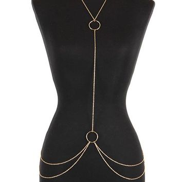 Keisha Double Ring Attached Body Chain and Necklace