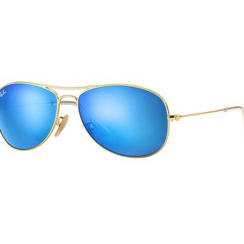 Ray Ban Cockpit Sunglasses Matte Gold Frame/Blue Mirror Lens