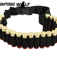 140CM 12 GA Military Tactical Airsoft Marine Nylon Duty Pant Molle Shotgun Belt 25 Rounds Bullet Ammo Pouch for Hunting Sport