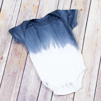 Blue and White Tie Dye Baby Onesuit