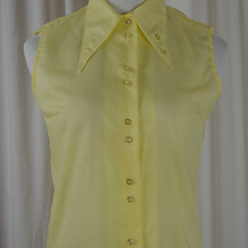 Vintage Top, Yellow Top, 70's Top, 1970s Fashion, School Shirt, Shirt, Button Down, Preppy Top, Sleeveless Top, Dead Stock, Casual Top,