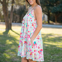 Spruce Up For Spring Dress, Coral-Jade