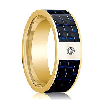 Mens Wedding Band 14K Yellow Gold and Diamond with Blue & Black Carbon Fiber Inlay Flat Polished Design