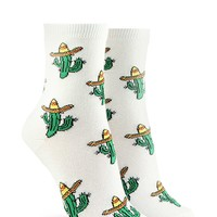 Cactus Graphic Crew Socks
